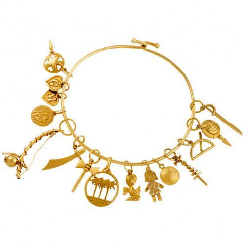 18k Yellow Gold Charm Bracelet with Assorted Charms