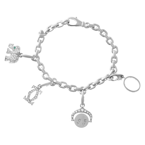 18k White Gold and Diamond Cartier Charm Bracelet
