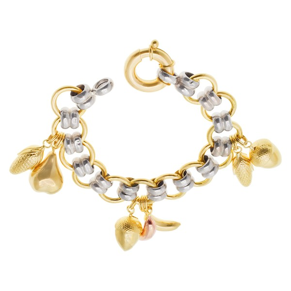 Two Tone Yellow and White Gold Fruit Charm Bracelet