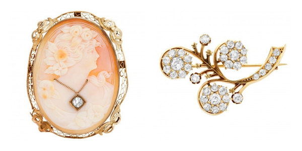 Jewelry Trends Brooches: Cameo Brooch & Antique Edwardian Brooch