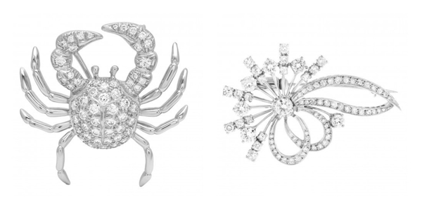 Jewelry Trends Brooch: Tiffany Diamond Crab Pin & Floral Diamond Pin