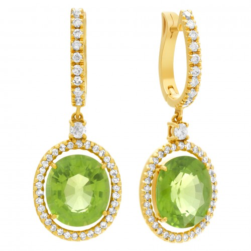 Peridot & Diamond Drop Earrings