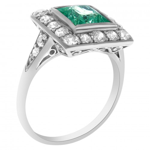 August Birthstone: Platinum Peridot & Diamond Art Deco Ring
