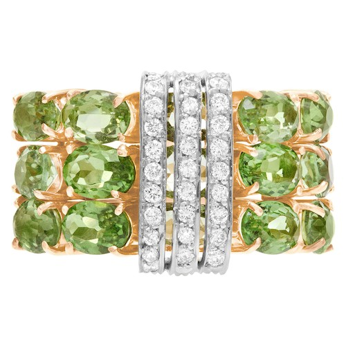 August Birthstone: Rose Gold Peridot & Diamond Ring