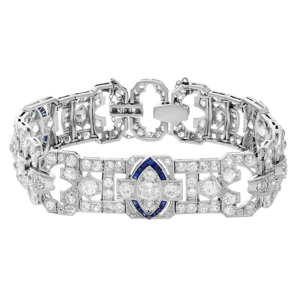 September Sapphire Birthstone Jewelry: Art Deco Bracelet