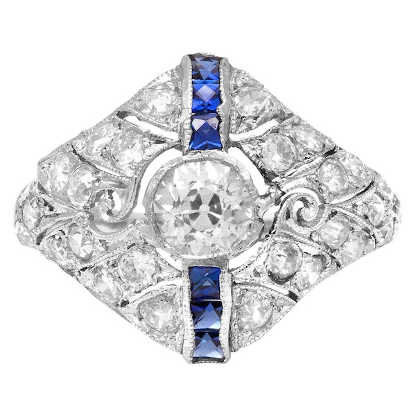 September Sapphire Birthstone Jewelry: Art Deco Ring