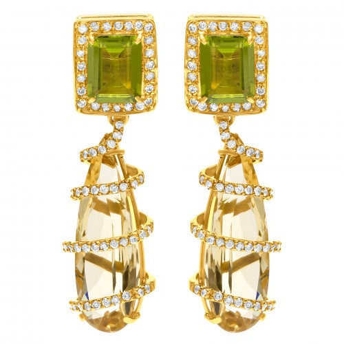 August Birthstone: Spiral Peridot, Citrine, & Diamond Drop Earrings