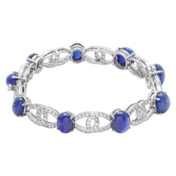 September Sapphire Birthstone Jewelry: Cabochon Sapphire Bracelet