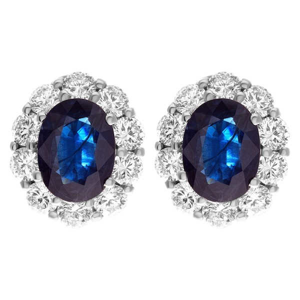 September Sapphire Birthstone Jewelry: Sapphire and Diamond Earrings