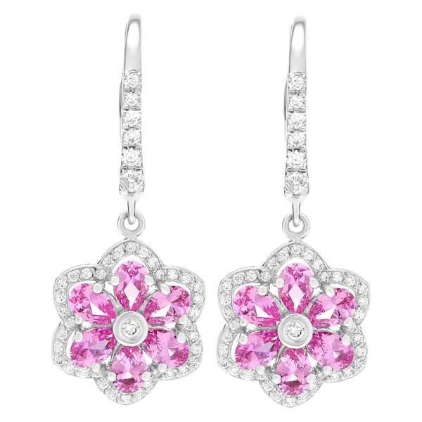 September Sapphire Birthstone Jewelry: Pink Sapphire Floral Earrings