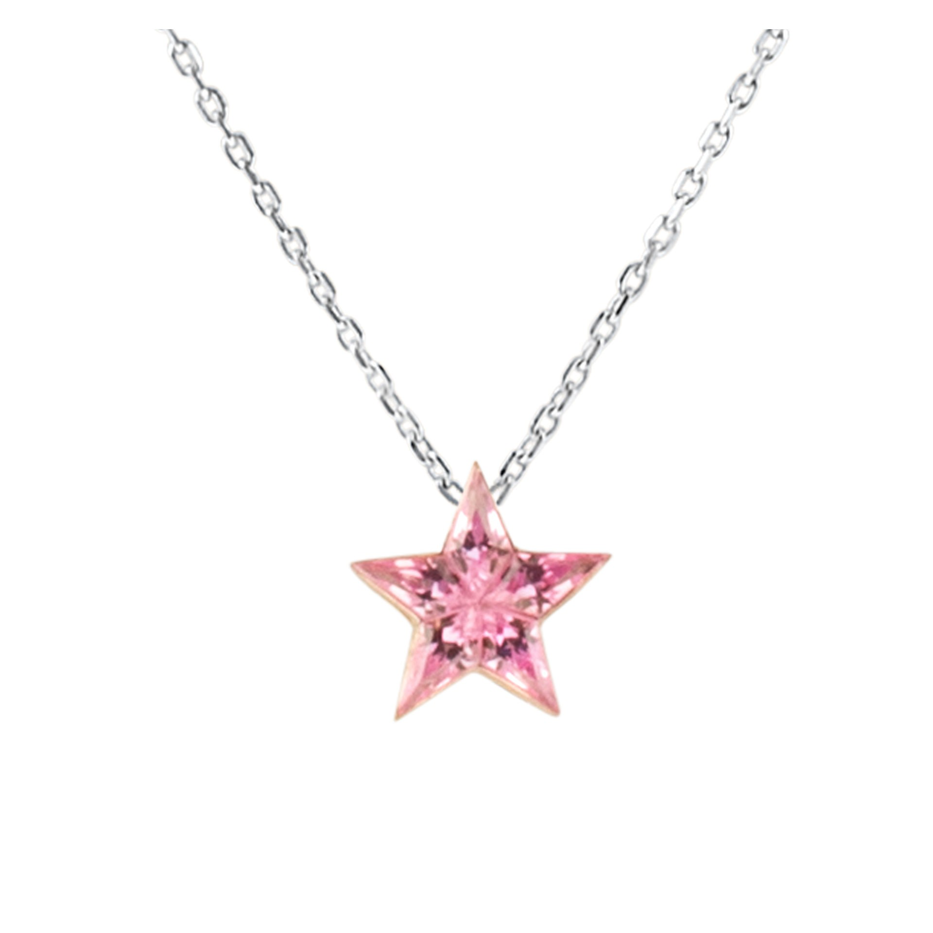 September Sapphire Birthstone Jewelry: Pink Sapphire Star Necklace