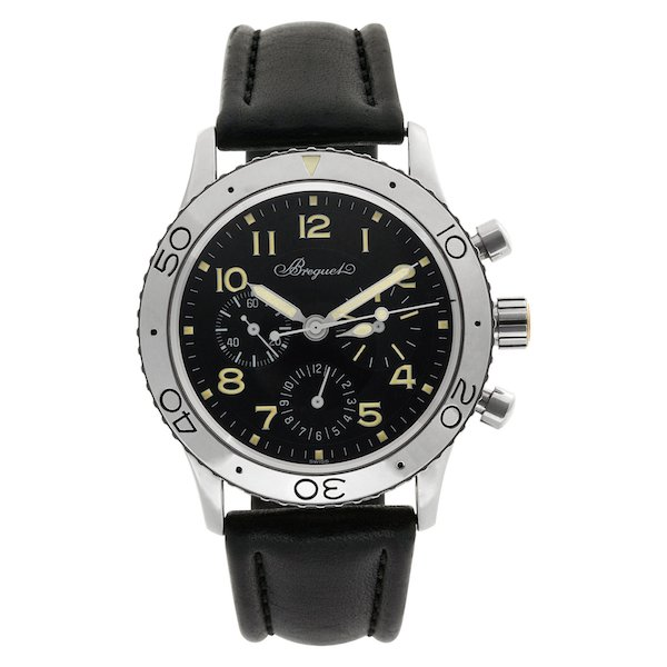 Steel Breguet Type XX Aeronavale with a Black Leather Strap