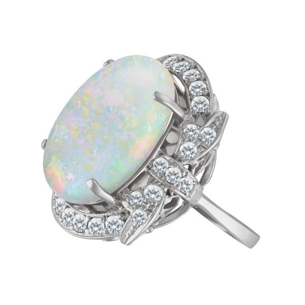 October Birthstone Jewelry: Fire Opal Diamond Ring