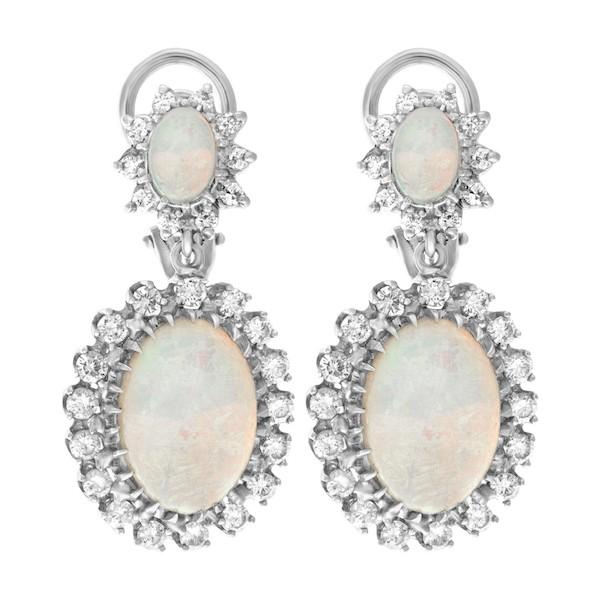 October Birthstone Jewelry: Opal and Diamond Earrings