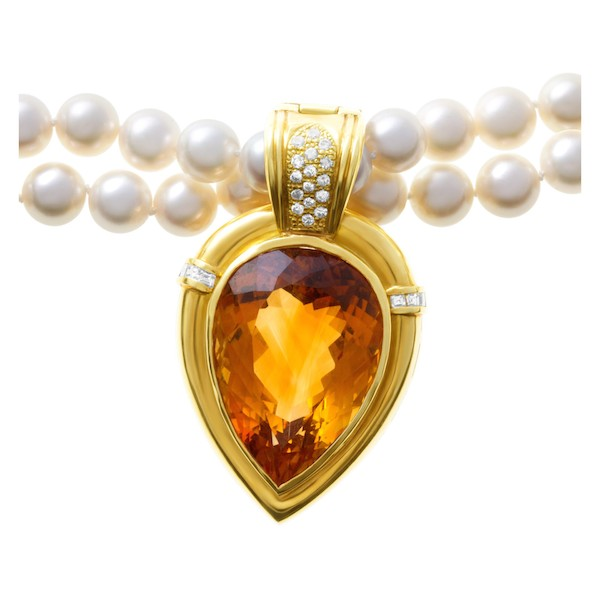 Golden Topaz November Birthstone Jewelry: Convertible Pearl Necklace