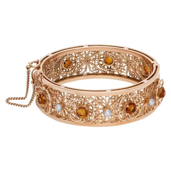 November Birthstone Jewelry: Rose Gold Bracelet with Citrine and Pearls