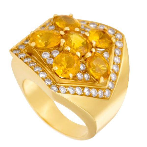 November Birthstone Jewelry: Yellow Topaz Flower Ring