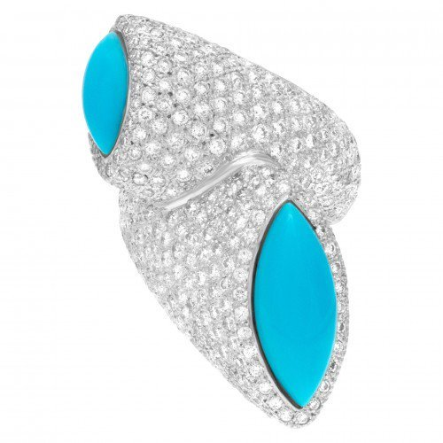 December Birthstone Jewelry: Persian Turquoise and Diamonds Ring
