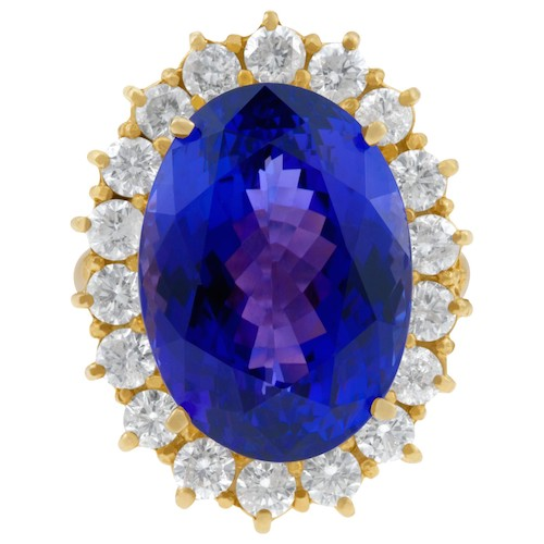 December Birthstone Jewelry: Yellow Gold 25-Carat Tanzanite Ring