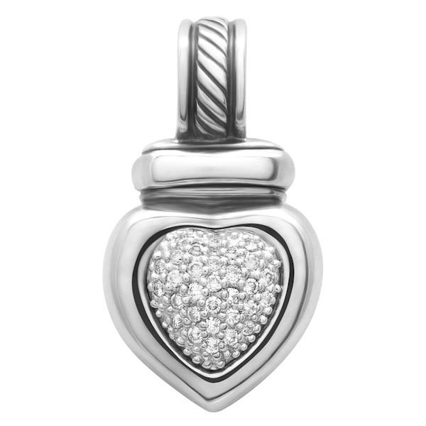 David Yurman Silver and Diamond Heart Pendant