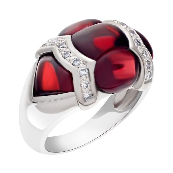 January Birthstone Garnet Jewelry: 18k White Gold Diamond and Garnet Ring
