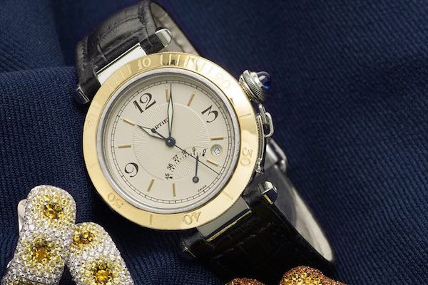 Two-tone Cartier Pasha watch with power reserve indicator