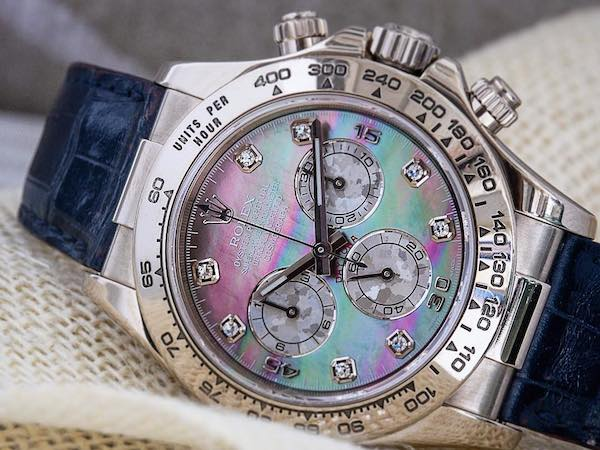 Blue Rolex Watch: White gold Daytona with leather strap