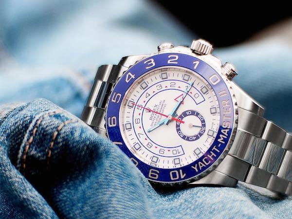 Blue Rolex Watch: Stainless Steel Yacht-Master II