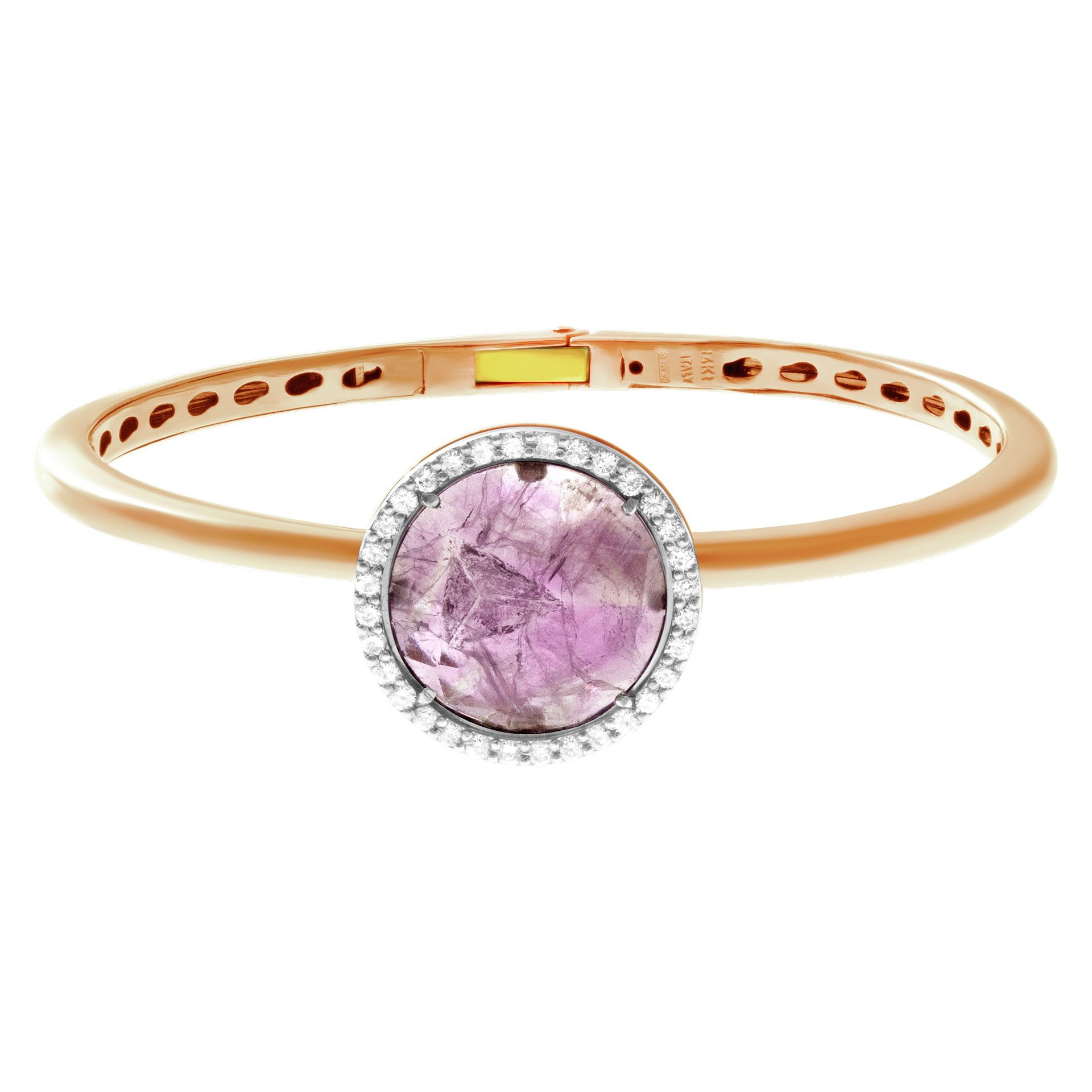 February Birthstone Amethyst Jewelry: Amethyst and Diamond 14k Rose Gold Bangle