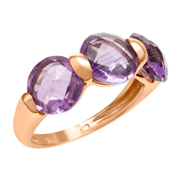 February Birthstone Amethyst Jewelry: Three-Stone Amethyst Ring