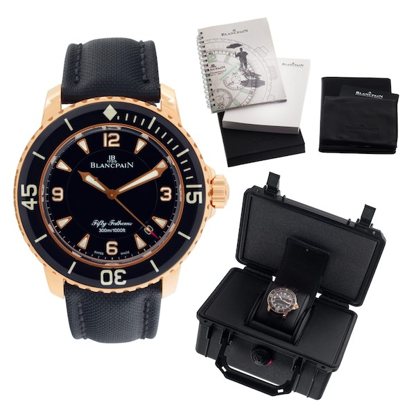 Full Set Rose Gold Blancpain Fifty Fathoms Automatique 5015 3630 52A