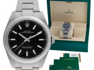 The Oyster Perpetual 114300 with a black dial is a solid first Rolex