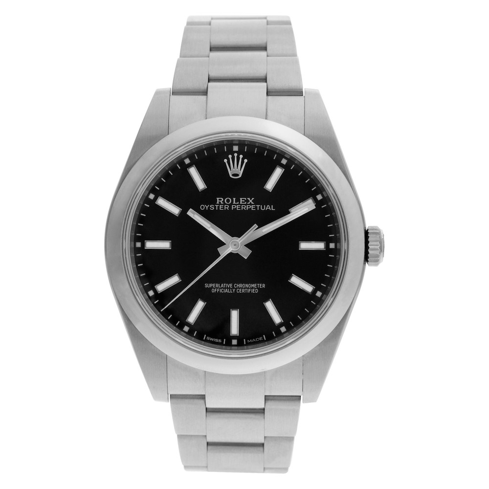 The Oyster Perpetual 39 ref. 114300 with a black dial