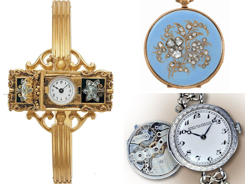 (Left to Right) Countess Koscewicz of Hungary's wristwatch, Queen Victoria's pocketwatch, Patek Philippe's first complicated ladies' wristwatch