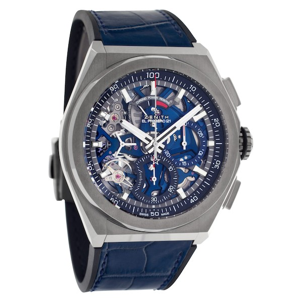 The Chronograph hand of the Zenith Defy El Primero 21 makes one rotation around the dial per second