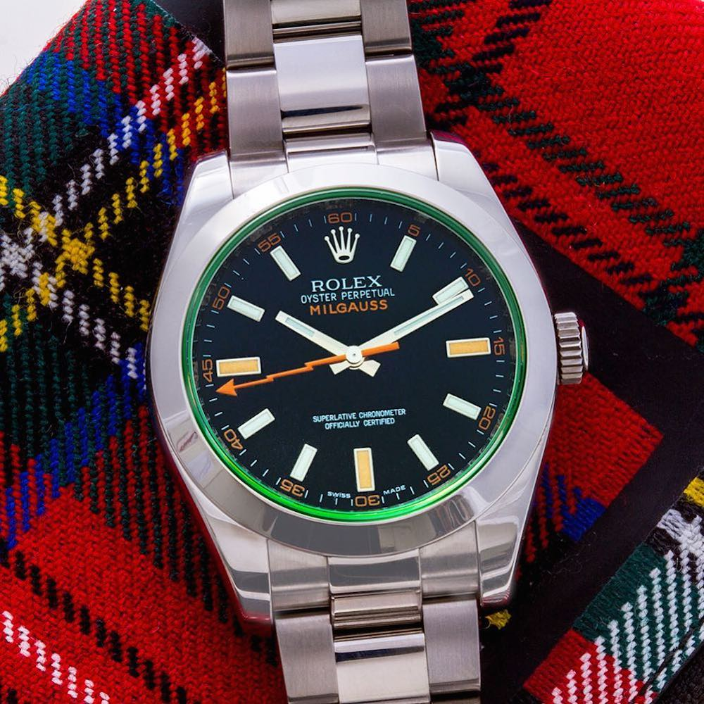 "Anniversary Milgauss with green sapphire crystal ""GV"""