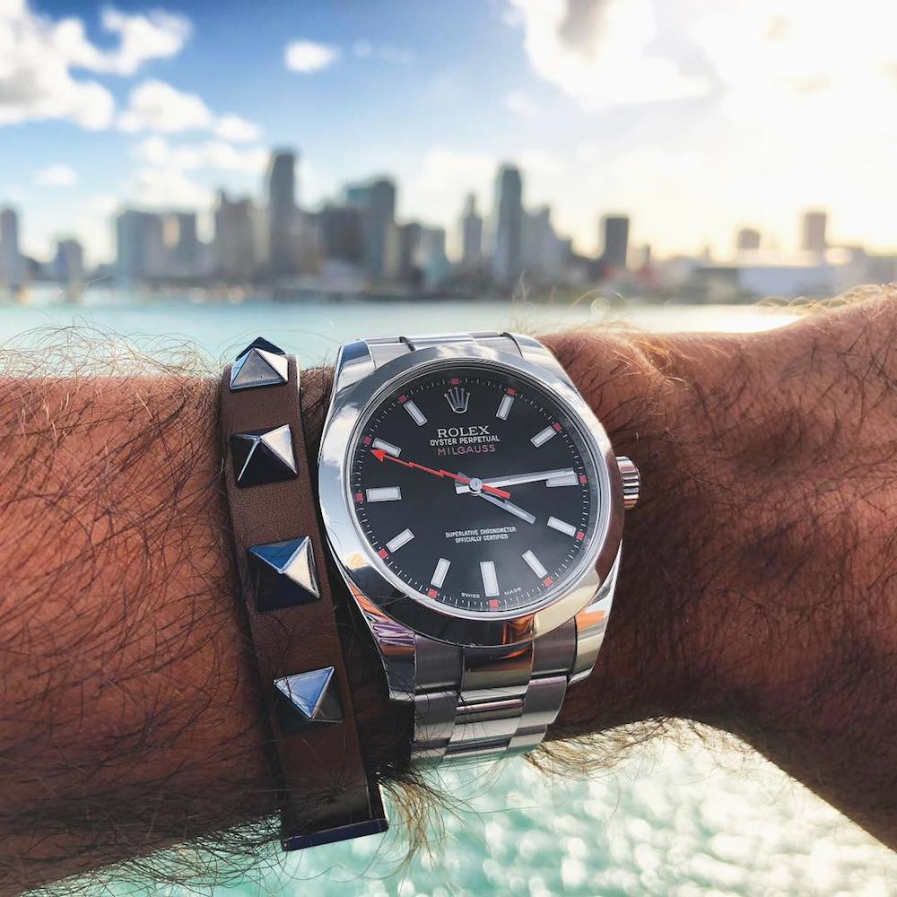 Black dial Milgauss with clear sapphire glass