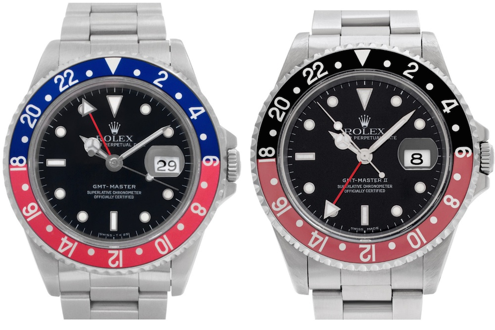 GMT-Master 16700 vs. GMT-Master II 16710. Rolex Pepsi or Coke?