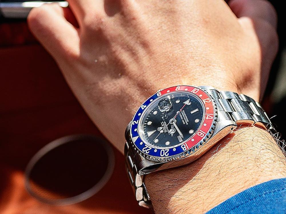 The iconic red and blue Pepsi bezel