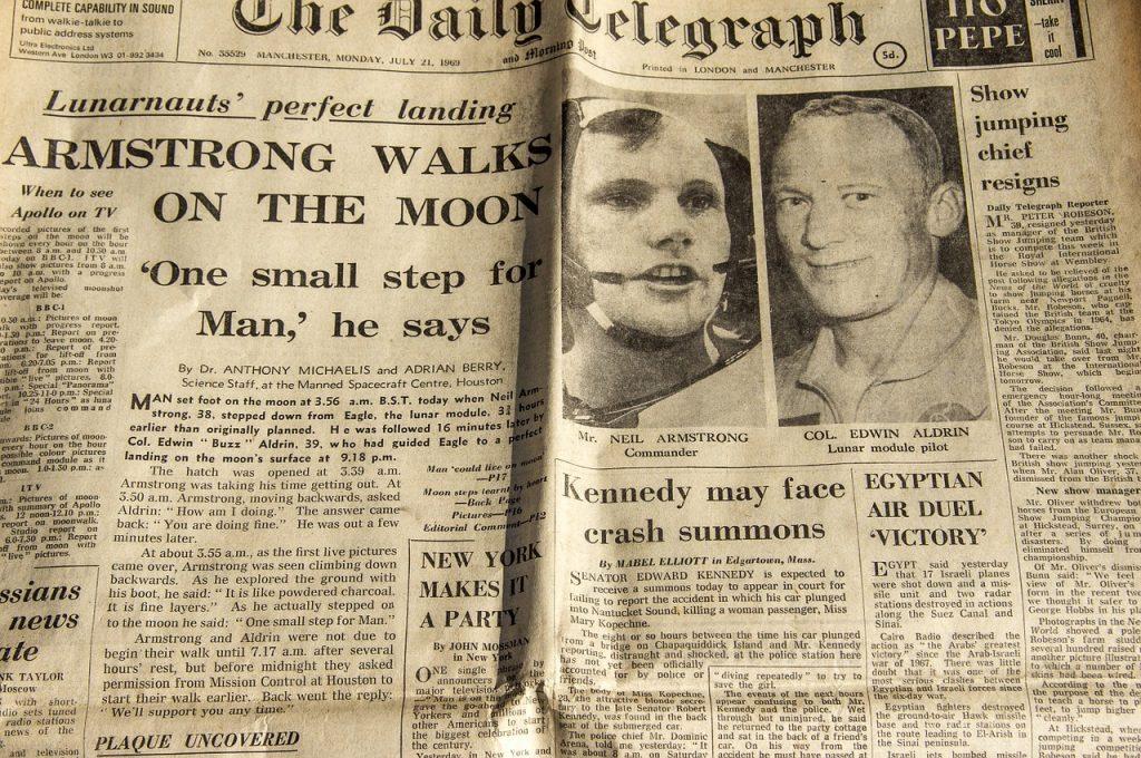 moon landing newspaper article