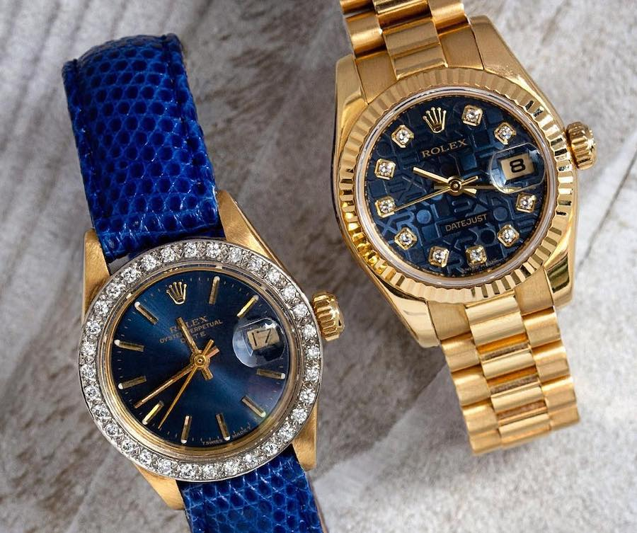 Yellow gold and diamond Rolex watches for women