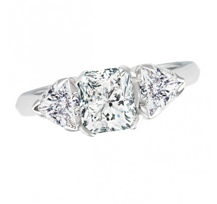 GIA certified diamond engagement ring set in platinum. Size 6.5