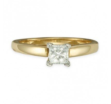 Simple and elegant princess-cut diamond engagement ring in platinum setting on a 14k band