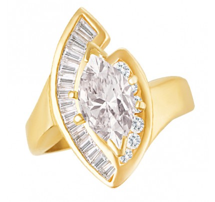 Marquise diamond ring in 14k yellow gold. Approx. 1.61 ct marquise (I, I1).