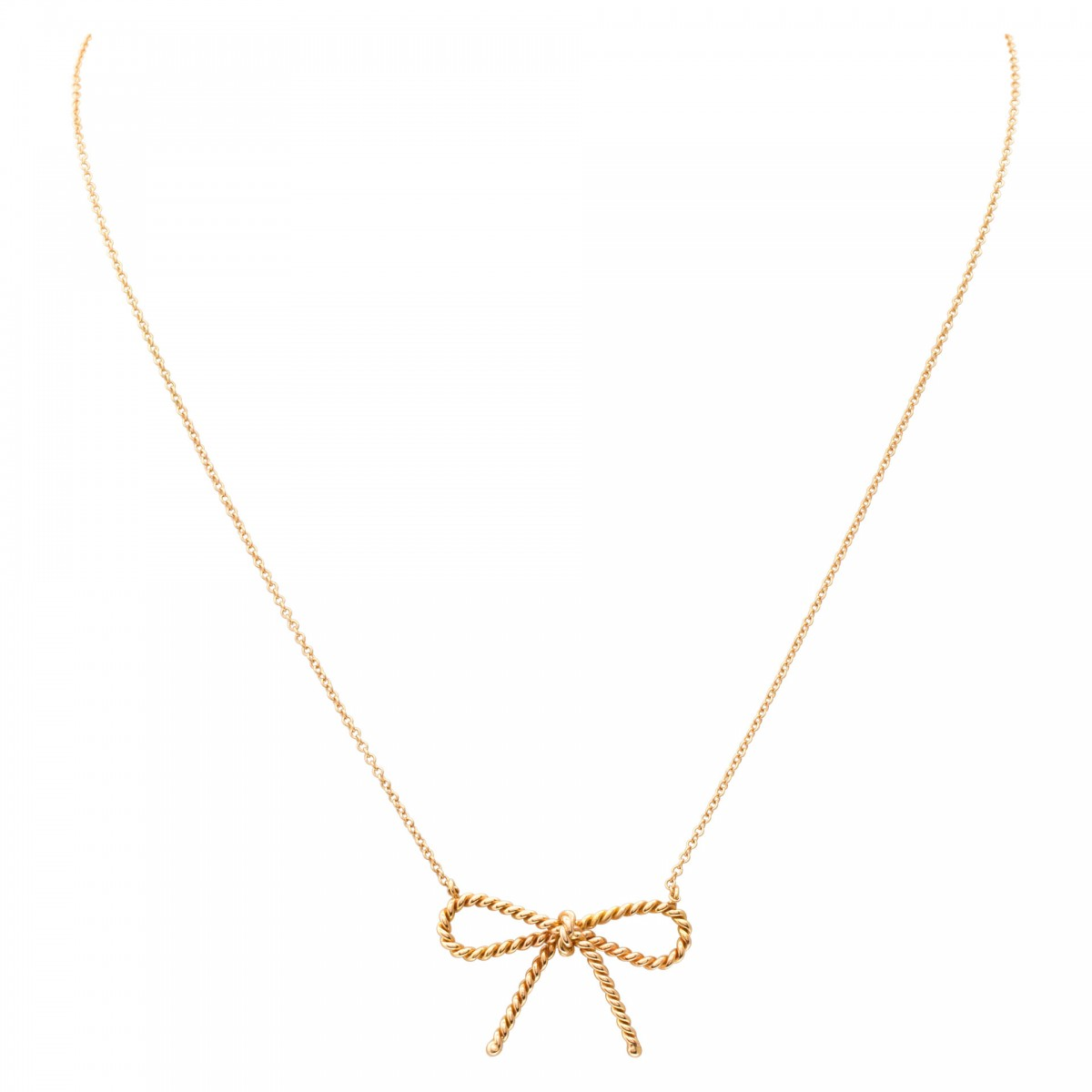 8eeed84b16be Tiffany   Co. Twisted Cable Wire Bow pendant necklace in 18k image ...