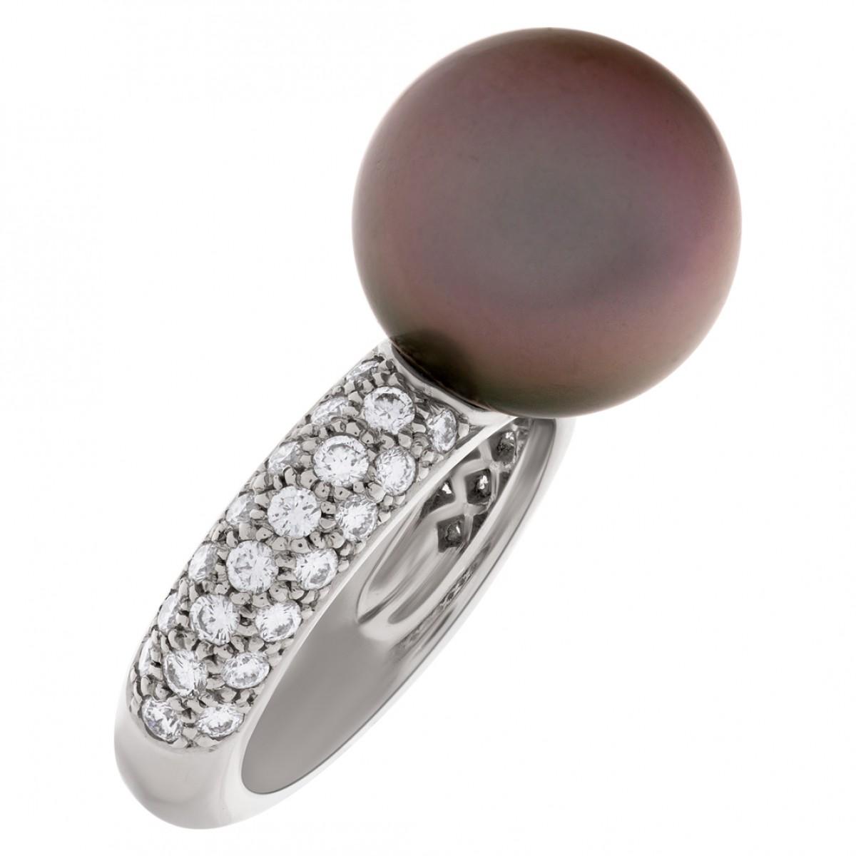 Cartier Tahitian Black Pearl And Diamond Ring