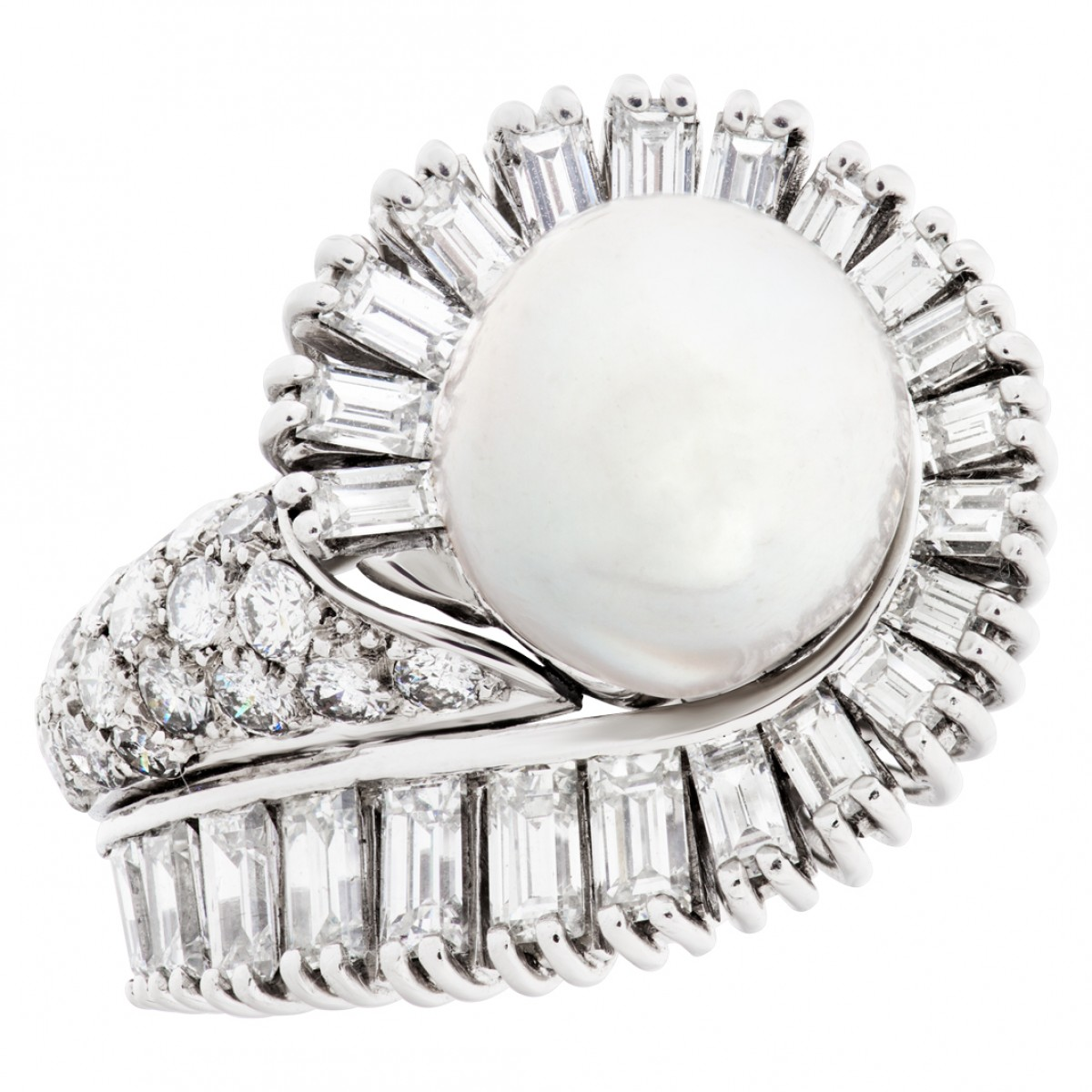 s514552 silver pearl ring set in platinum with approx 2