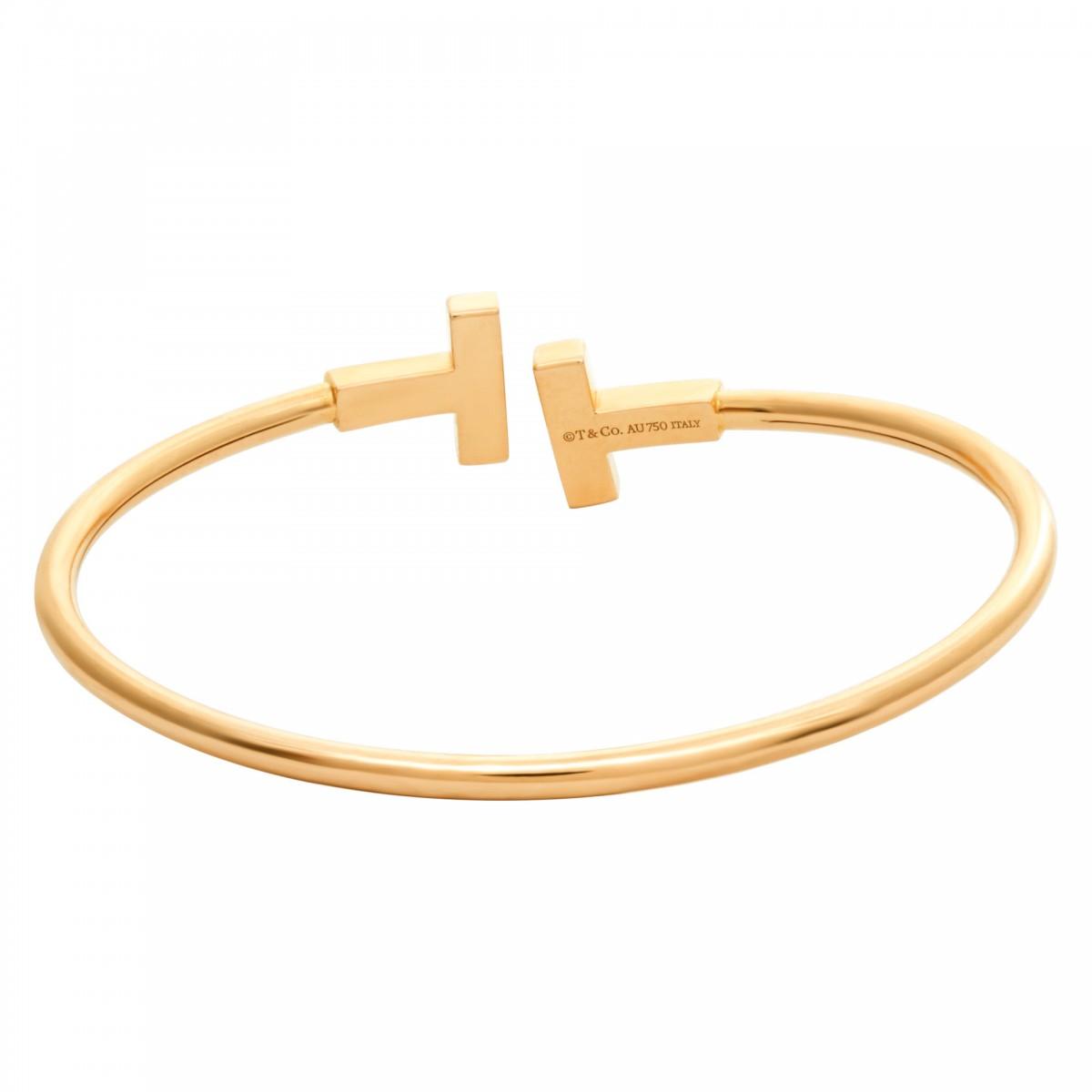 Tiffany Co T Wire Diamond Bracelet In 18k Rose Gold 0 22 Carat S