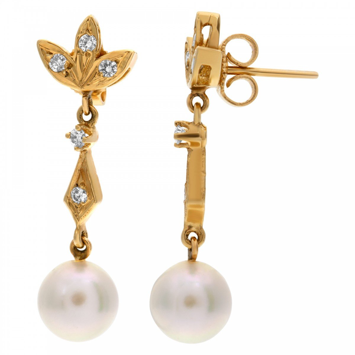 Delicate Dangling Pearl Earring With Diamond Accents Set On 14k Yellow Gold