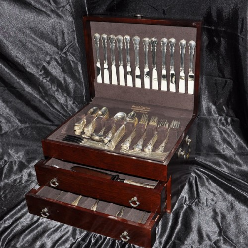 "Towle ""French Provincial"" Sterling Slver Flatware Set. 12 Pc service for 8 - 106 total pcs"